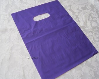 100 Gift Bags, Purple Plastic Bags, Purple Bags, Plastic Bags, Party Favor Bags, Bags with Handles, Shopping Bags, Halloween Bags 9x12