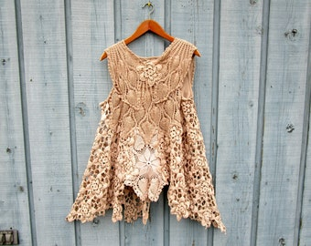 XL Tea Stained Crochet Doily Tank Top Tunic// Shabby Chic Spring Summer// Repurposed Vintage// emmevielle