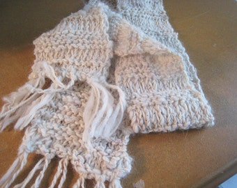 "Handspun Alpaca Scarf, Knit Scarf Natural Off-White, Warm Alpaca and Soft Wool, Winter Scarf 55"" x 4"", Stretchy Can Tie Around Ears in Wind"