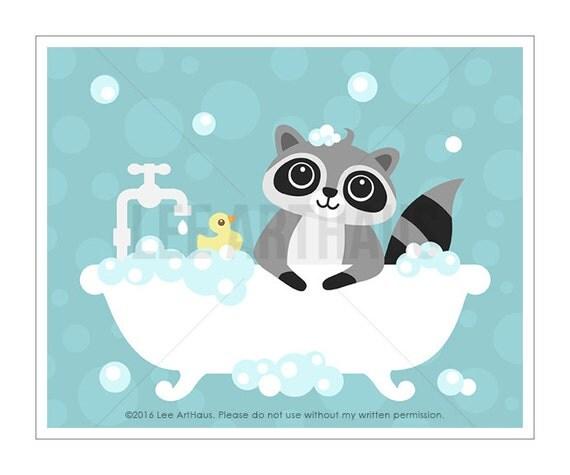 26A Raccoon Print - Raccoon in Bathtub Wall Art - Baby Art - Raccoon Baby - Bathroom Print - Bathroom Wall Art - Art for Bathroom