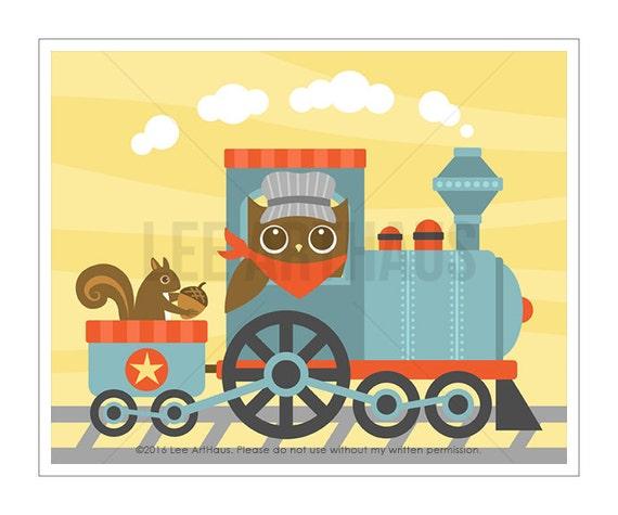 100A Owl Nursery Print - Owl and Train Wall Art - Train Print - Train Poster - Baby Boy Woodland Nursery Decor - Owl Nursery Art - Owl Decor