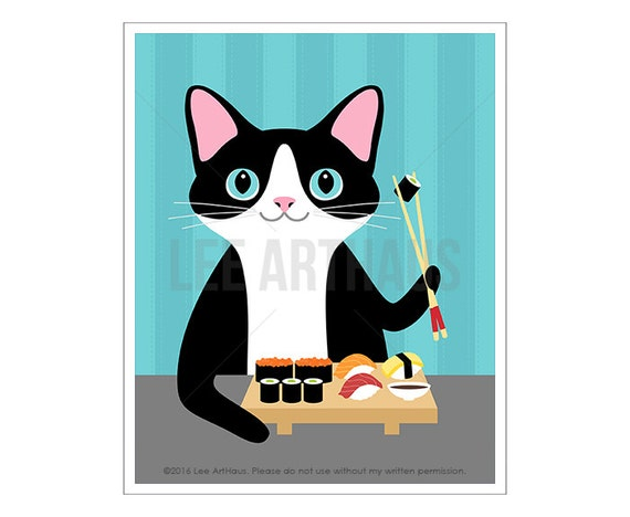 308D Funny Cat Art - Cat Eating Sushi Wall Art Print - Sushi Drawing - Black and White Cat Print - Foodie Gifts - Sushi Prints - Cute Cat