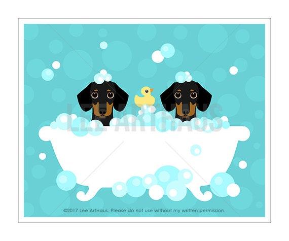 316D Dog Print - Dachshund Dogs in Bubble Bath Wall Art - Dog Wall Art - Dachshund Print - Doxie Art Print - Bath Art - Black and Tan Dogs