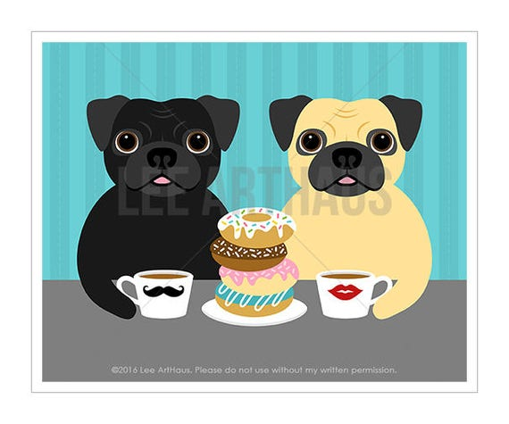 280D Funny Dog Print - Two Pugs Eating a Stack of Donuts Wall Art Print- Donut Print - Black Pug Print - Fawn Pug Wall Art - Donut Poster