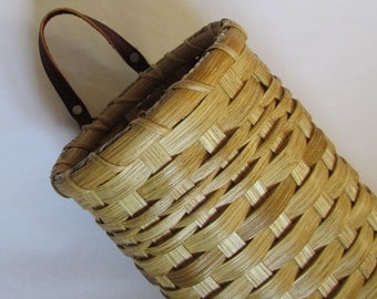 Tall Wall Basket, Front Porch Basket, Handwoven Basket