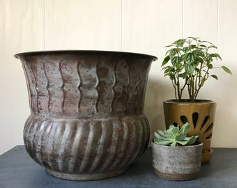 vintage large brass planter - solid brass pot - metal plant holder - outdoor decor