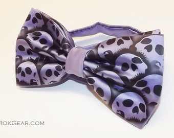 Skull bow tie mens periwinkle blue purple collar band bow tie