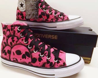 Skull Converse All Star High Top - Hand Painted by RokGear - US Womens Size 8.5 Neon Pink Limited Pink Skull shoes.