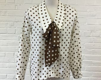 1980s Ivory and Brown Polka Dot Blouse with Detachable Bow, size L