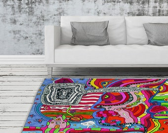 Psychedelic Rug Artist Area Rug Modern Industrial Decor Abstract Rug throw rugs colorful rug unique rug psychedelic decor college dorm gift