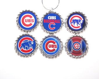 Chicago Cubs Baseball Champions Wine Glass Charms Sports Set