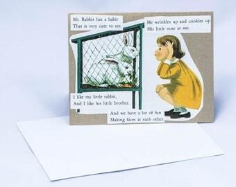 Bunny Ears. Vintage Greeting Card