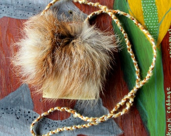 Recycled leather necklace pouch with red fox fur flap for crystals, herbs, fetiches, medicine, and other small sacred objects