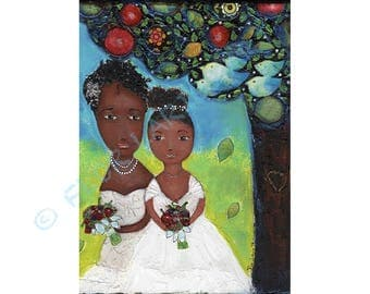 Forever Love - Folk Art  Print from Painting (8 x 10  inches Print) by FLOR LARIOS