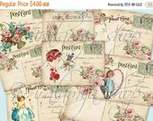 SALE VINTAGE POSTCARDS collage Digital Images  -printable download file-