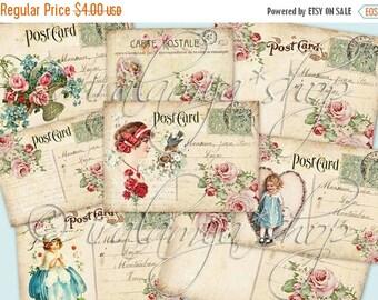 SALE VINTAGE POSTCARDS collage Digital Images  -printable download file-