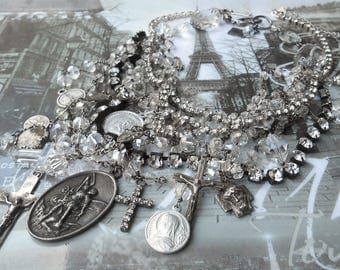 Love on the Rocks Antique Sterling Rock Crystal Rosaries Necklace Set