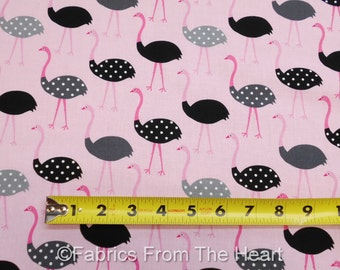 Polka Dot Ostrich Zoo Birds on Pink Urban Zoologie BY YARDS Robert Kaufman Fabric