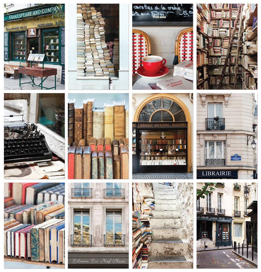 Literary Paris Postcard Set, Book lover Gift for Her, Travel Postcards, Paris Bookshop, English Major Gift