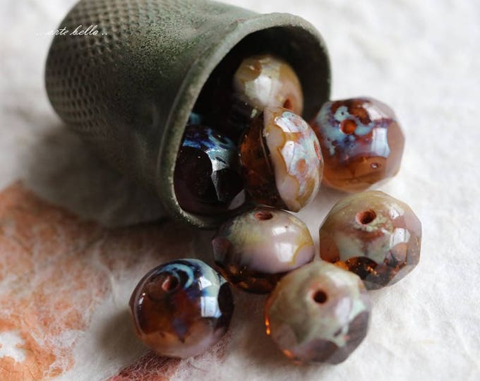 AMBER AND LAVENDER .. 10 Premium Picasso Czech Glass Beads 6x8-9mm (5739-10)