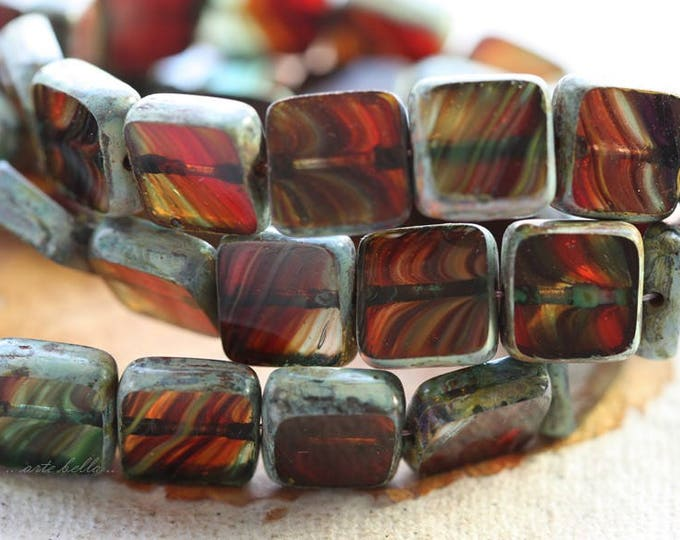 SUNSET SQUARES .. 15 Premium Picasso Czech Glass Square Beads 9mm (B1017-15)