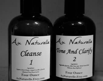 Skin Care Regimen  -  Cleanse 1 And Tone And Clarify 2  - Skin Care Duo -  4 Ounce - Honey Cleanse - Hibiscus Acai  -  Natural  -