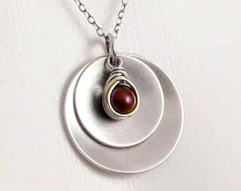 Wine Pearl Necklace, Sterling Silver Disc Necklace, Layered Disc Pendant, Gifts for Her