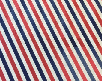 Tim Holtz Fabric by the Yard - Correspondence - Postal Stripe in Red - Quilter's Cotton