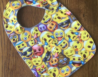 Gray Emoji Minky Baby/Toddler Bib
