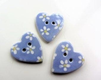 3 ceramic heart  shaped buttons  handmade flower pattern pattern