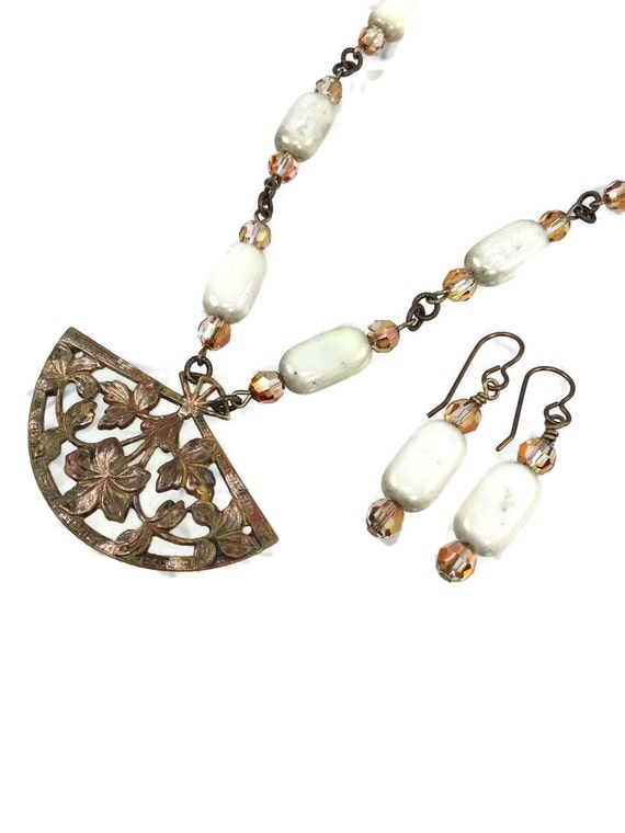 SALE Asian Pendant Necklace and Earring Set Hand painted