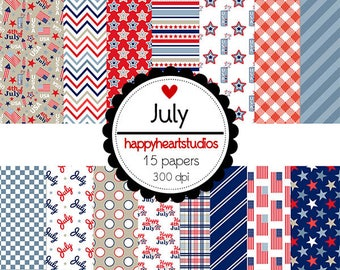 DigitalScrapbooking July  4th of July, American, Red, White Blue- Instant Download