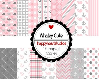 DigitalScrapbooking WhaleyCute Pink, Gray, Whales, Nautical  Instant Download