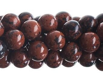 10 Pieces Natural Semi Precious Mahogany Jasper Stone - Round (608)