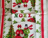 Vintage linen Christmas NOEL towel, carolers, new old stock, tag still attached