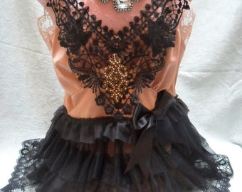 Holiday Sale 30% Off TUNIC Top Altered Clothing Ruffles Cami - Vintage Cami Make Over - Bronze and Black