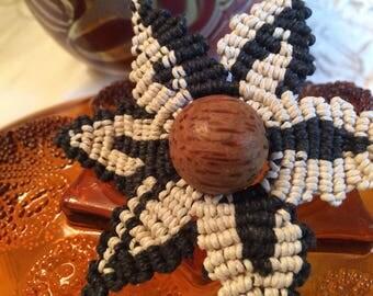 REJUVENATED Macrame Hemp Hairflower with Giant Wood Center bead