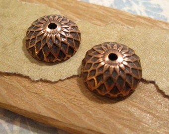 Acorn Bead Caps in Antique Copper by Nunn Design - 2 Count