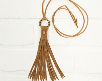 leather tassel necklace, tassel, recycled leather, upcycled, brown suede, jewelry, leather jewelry, handmade jewelry, stacylynnc