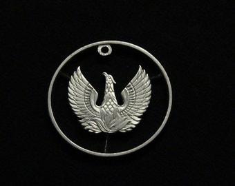 GREECE - cut coin pendant - Phoenix, Mythical Bird of Egyptian Lore - 1973 - Trump? Really!!?