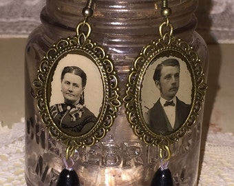 Victorian Gem Tin Type Frame Earrings with Edwardian Black Glass Drops