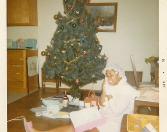 Original Vintage Color Photograph Snapshot African American Woman By Christmas Tree 1970