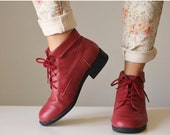 ON SALE 1980s Leather Cranberry Ankle Boots >> Size 8