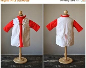 25% OFF SALE 1960s Red Crest Knit Dress & Jacket~Size 12 Months