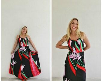 1970s Tropical Maxi Dress /// Size Medium