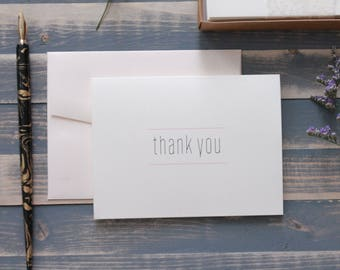 Custom Modern Wedding Thank You Cards, Thank You Note Card Set, Bridal Shower Thank You Card, Wedding Thank You Card - Amy