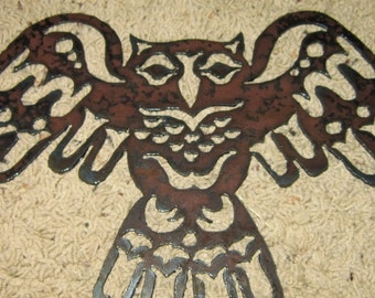 Stylized Owl-metal art-native alaskan inspired