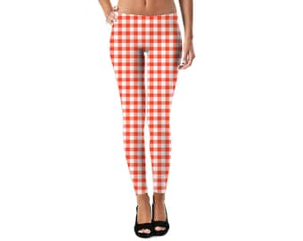 Red Gingham Leggings - - RageOn 2017 by Rupydetequila - 1 of-a-kind , printed exclusively for you.