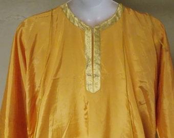 Vintage priest vestment gold taffeta/metallic front neck open long C Rockelmann Co