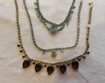 lot 3 vintage rhinestone necklaces, yellow w/large brown, blue square/geo, clear